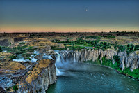 Moon above Shoshone Falls in Southern Idaho