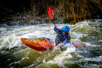 Kayaker, Kyle Keegan, on the Lower Malad River, near Hagerman, Idaho